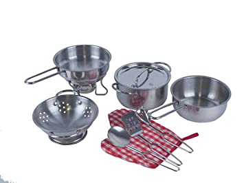 Juego de juego de cocina de juguete, paquete de 10 piezas - ollas de acero inoxidable, sartenes y sartenes, ollas y sartenes de acero inoxidable Juego ...