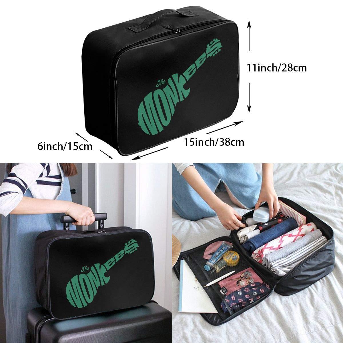 Fretlo The-Monkees-Guitar-Rock-Band-Logo Travel Duffel Bag Waterproof Lightweight Large Capacity Portable Luggage Bag Black
