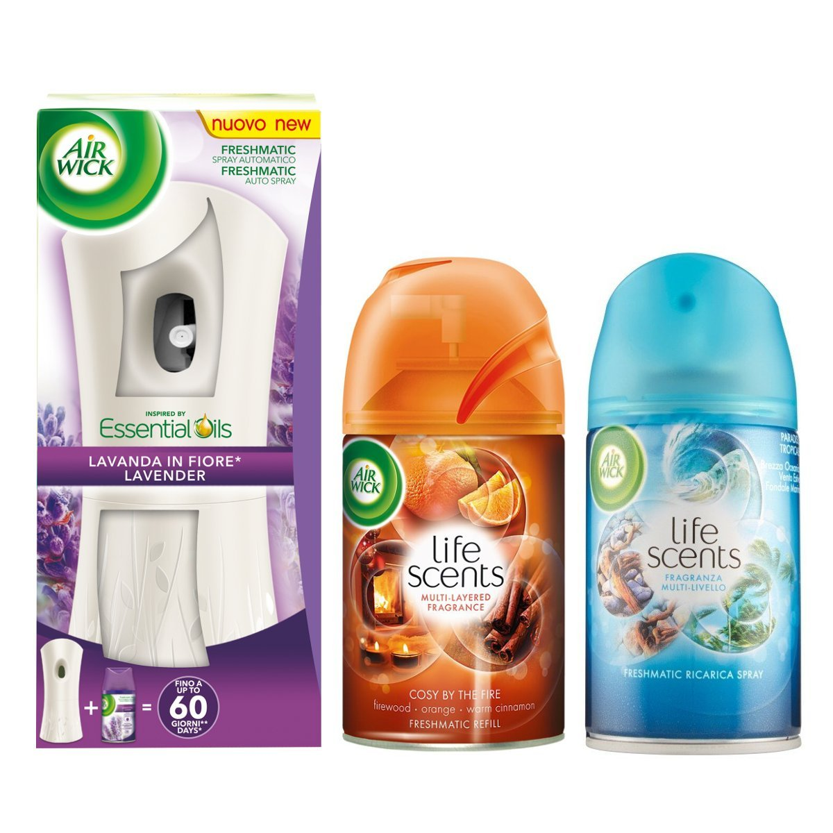 Air Wick Freshmatic Automatic Spray Holder Air Freshener Lavender in Fiore + Cosy By The Fire Refill + Tropical Paradise Refill