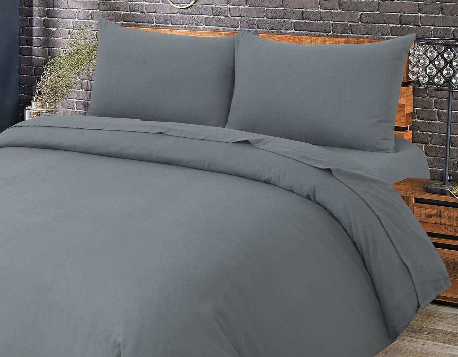 Flannel 100/% Natural Brushed Cotton Fitted and Flat Sheet Sets with Pillowcases