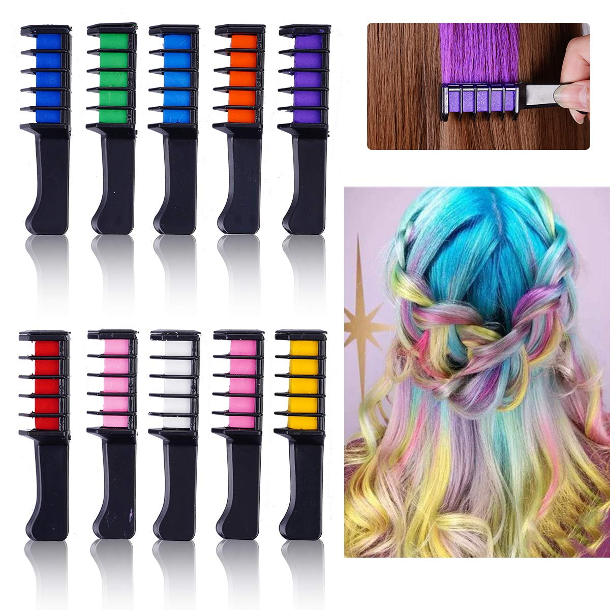 Hair Chalk Comb Set Nontoxic Temporary Diy Rainbow Highlighting Dye For Kids 10 Bright Vibrant Colorful Eco Safe No Mess Washable Wash Off Hair