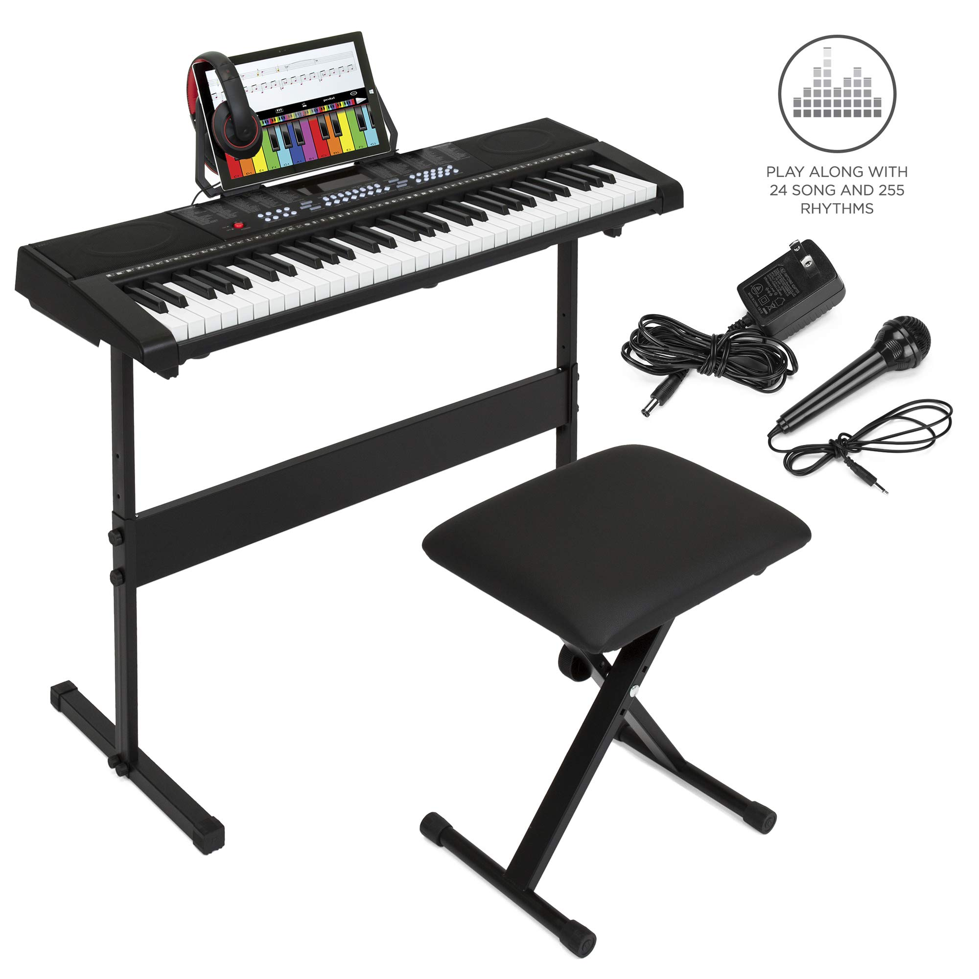 Best Choice Products 61-Key Beginners Electronic Keyboard Piano Set w/LED Screen, Recorder, 3 Teaching Modes, H-Stand, Stool, Headphones, Microphone by Best Choice Products