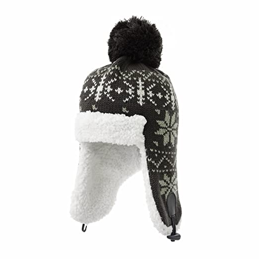d5465f0103851 WITHMOONS Knit Beanie Hat Fairs Isle Nordic Pom Ear Flap Cap SM7892 (Brown)