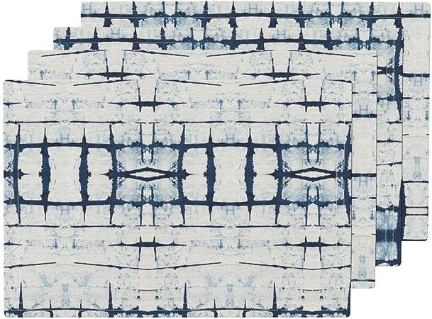 Mantel individual Shibori resistente al calor, Shibori japonés asiático Tie Dye azul blanco Shibori azul índigo