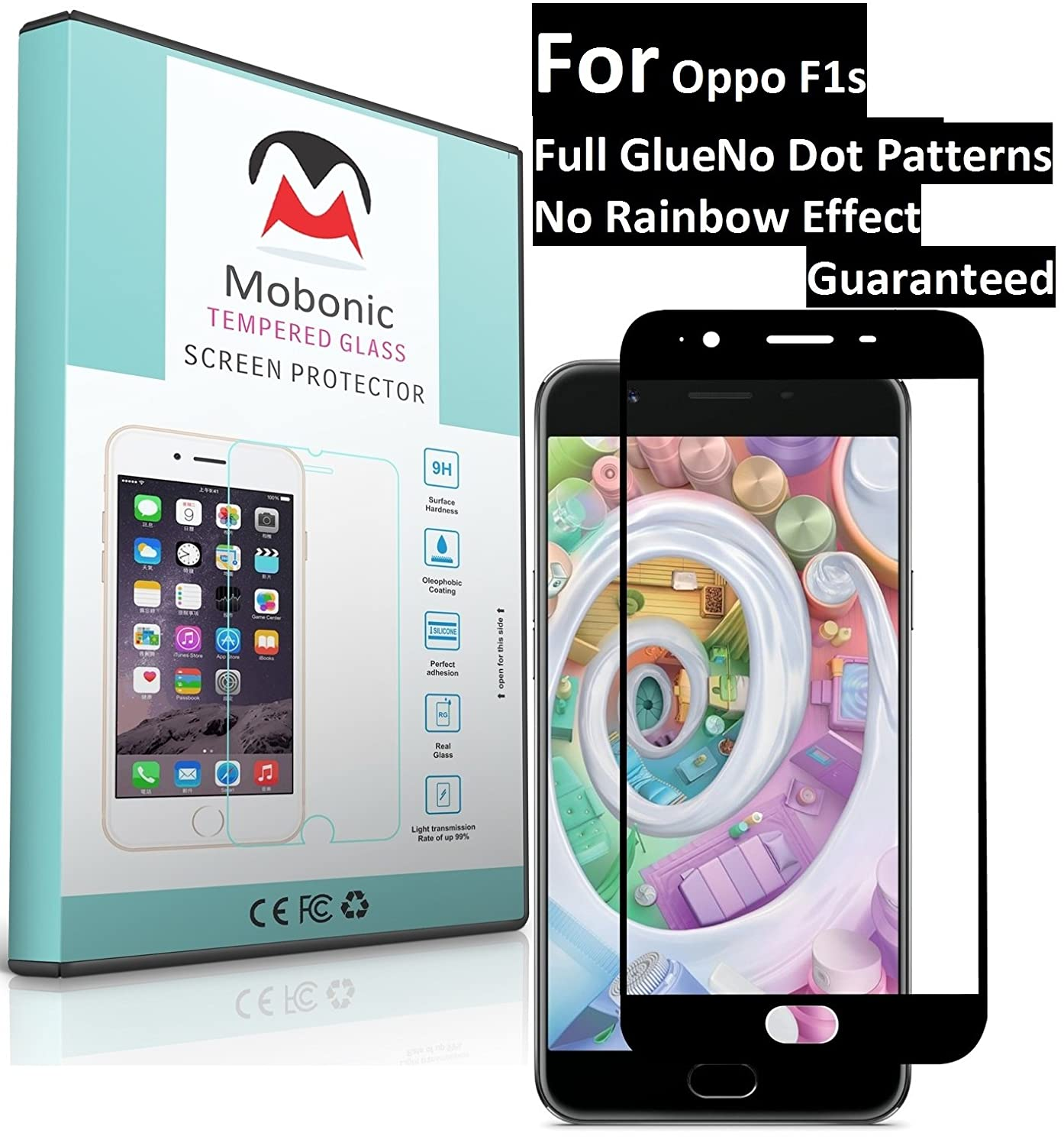 Mobonic 25d 9h Full Cover Glue No Dot Electronics Tempered Glass Layar Oppo F1s