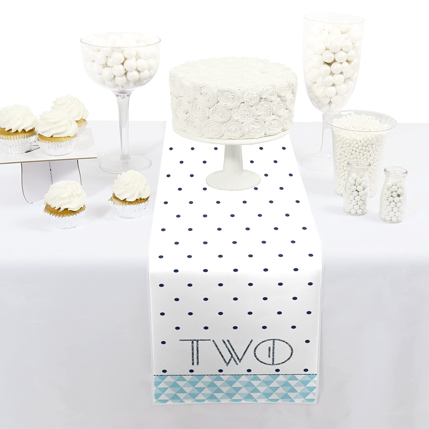 12 x 60 Big Dot of Happiness Two Much Fun Boy Petite 2nd Birthday Party Paper Table Runner
