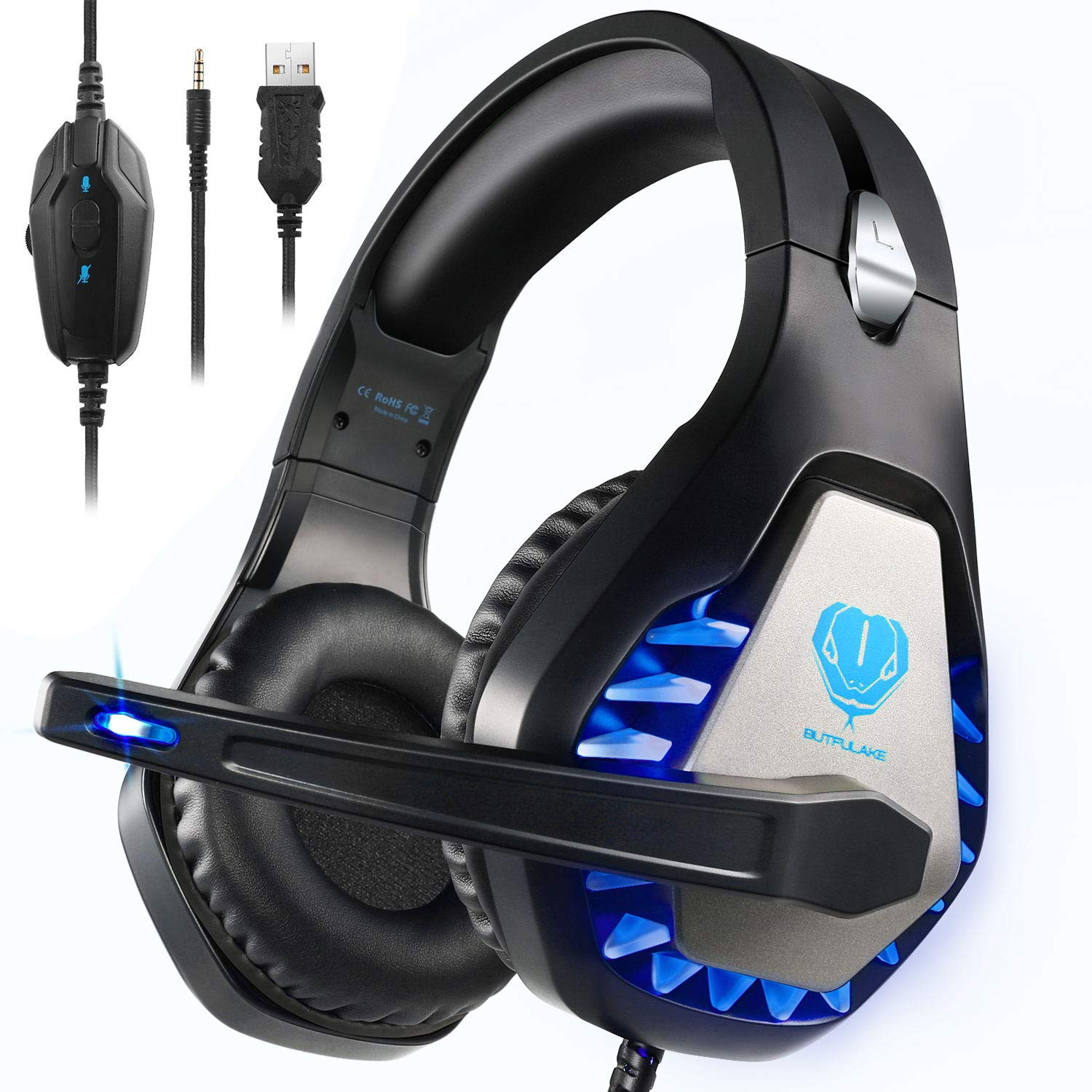 BUTFULAKE GH-1 Gaming Headset for PS4, Xbox One, Xbox One S, PC, Nintendo Switch, Mac, Laptop, Computer, 3.5mm Wired Pro Stereo Over Ear Gaming Headphones with Noise Cancelling Mic &LED Light, Blue by BUTFULAKE