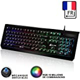 ⭐️KLIM Domination - Mechanical Keyboard AZERTY RGB - PC PS4 - Blue Switches - Fast Typing, Precise, Comfortable - 5 Year Warranty - FULL CUSTOMISATION OF COLORS [ New 2019 Version ]
