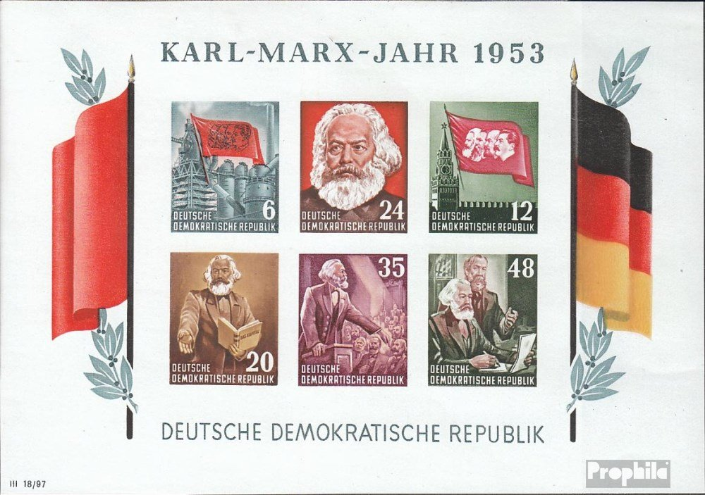 Promoción por tiempo limitado Prophila Collection DDR (RDA) Bloque 8b examinado, matasellado de Primer día 1953 Karl-Marx-año (Sellos para los coleccionistas)
