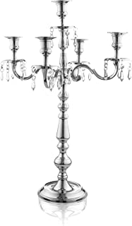 Klikel Traditional 24 Inch Silver 5 Candle Candelabra With Crystal Drops - Classic Elegant Design -  sc 1 st  Amazon.com & Amazon.com : 5 Branch Silver Plated Candelabra : Everything Else
