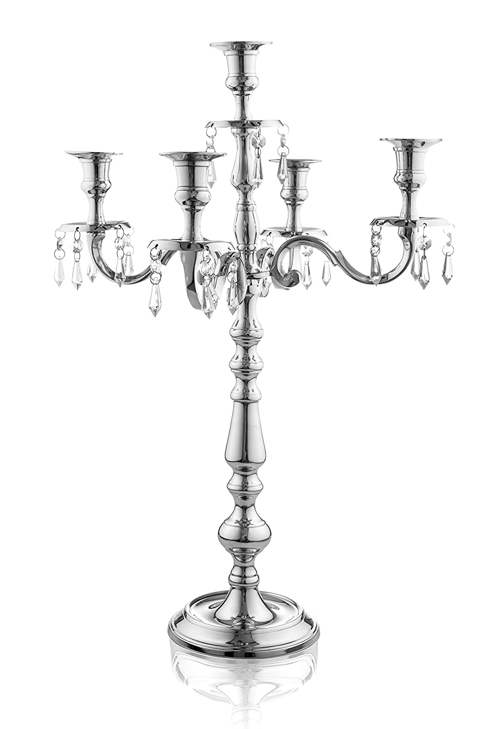 Klikel Traditional 24 Inch Silver 5 Candle Candelabra With Crystal Drops - Classic Elegant Design - Wedding, Dinner Party And Formal Event Centerpiece - Nickel Plated Aluminum, Dangling Acrylic Crysta Klikel Inc