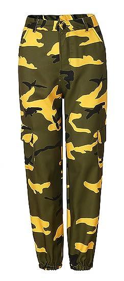 Femme Pantalon Militaire Vintage Large Pantalon Sport Elégante Jeune Mode  Mouvement Fitness Armée Training Basic Taille 2276bd3e201