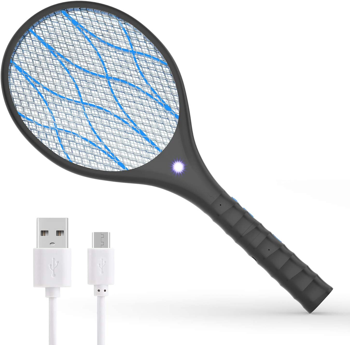 XDDIAS Electric Fly Swatter, USB Rechargeable Bug Zapper Bat Racket, Mosquito Killer Racquet with 4000 Volt/Removable Flashlight for Indoor Outdoor