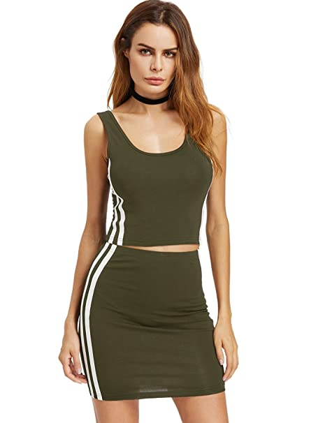 78662660f1 Romwe Women's 2 Piece Crop Tank Top with Skirt Set Sleeveless Bodycon Mini  Dress Green Small