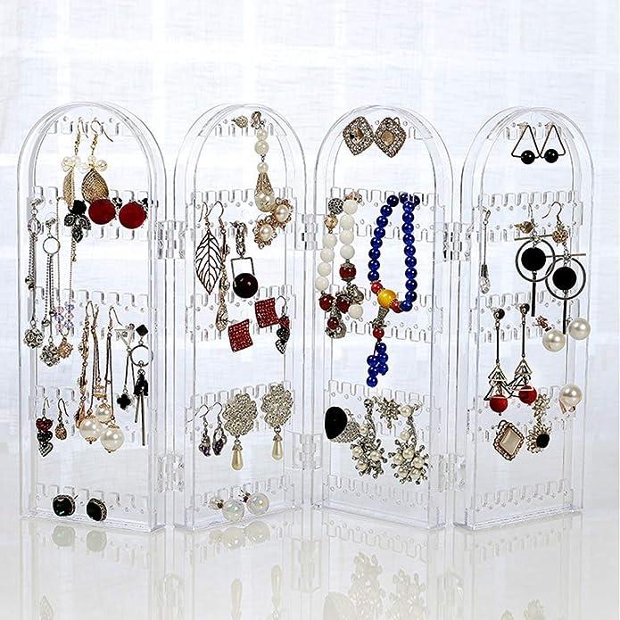 Kbnian Rangement de Bijoux Pliable,Pr/ésentoir /à Bijoux Transparent en Plastique,Boucle Doreille Pr/ésentoir pour les Boucles d/'Oreilles,les Colliers et Bracelets-120 Emplacements de Boucles d/'Oreilles