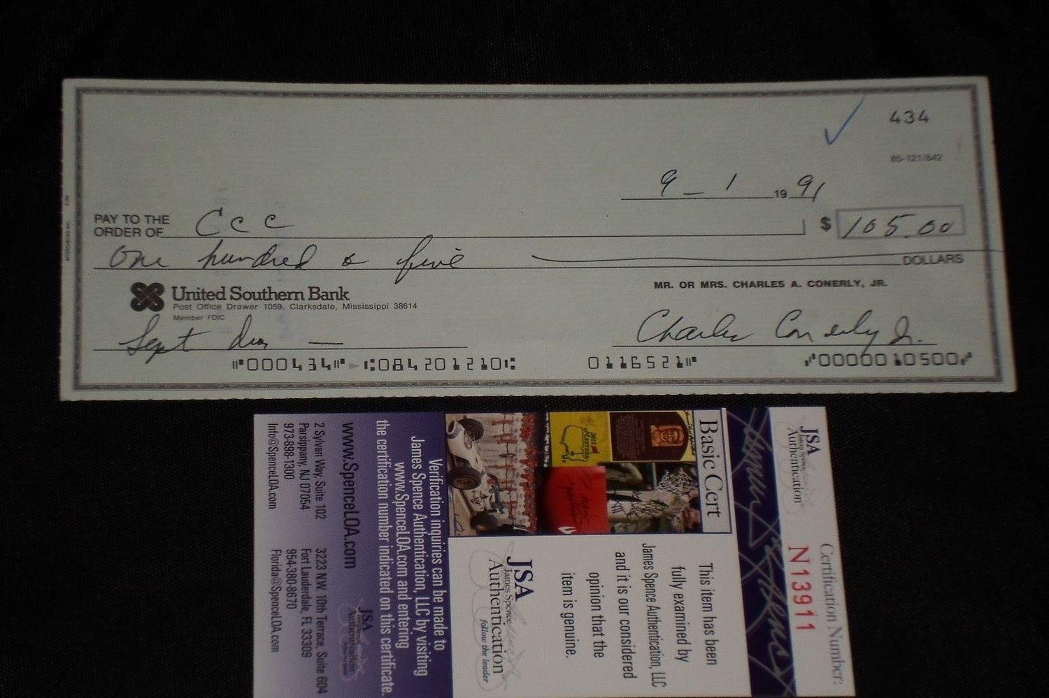 Charlie Conerly Autographed Signed Check New York Giants JSA Authentic Memorabilia Certified
