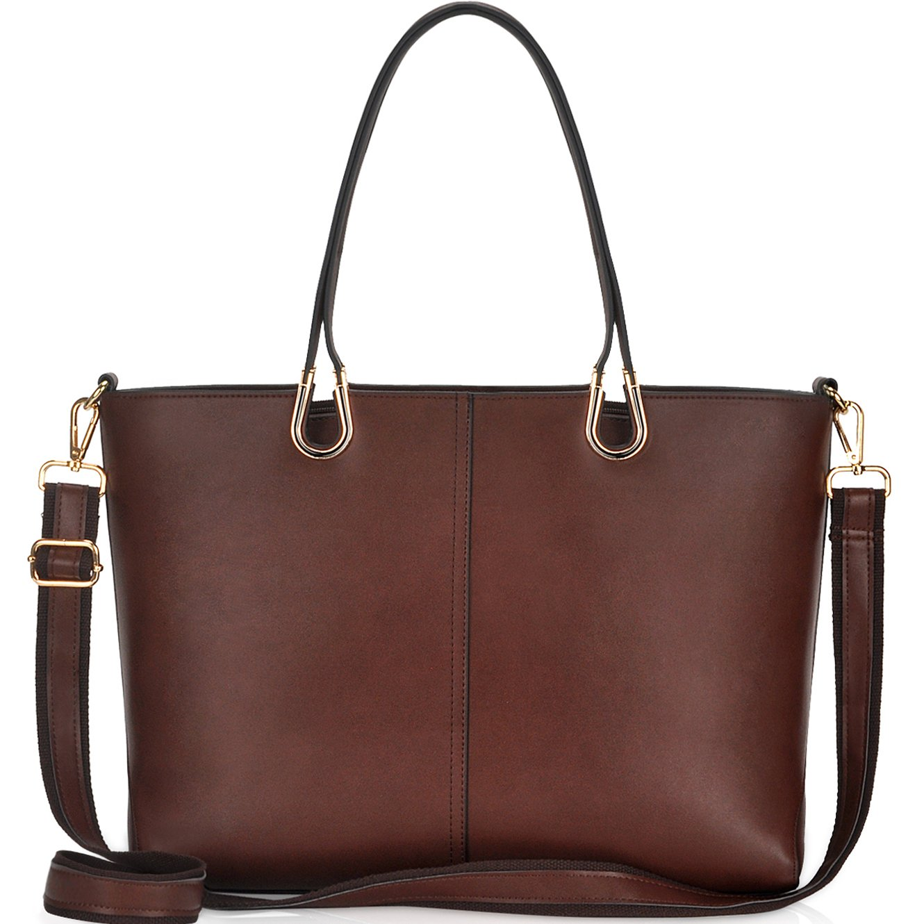 Laptop Bag,Casual Business Laptop Bags for Women 15.6 inch,Large Tote Bag Briefcase with Wide Crossbody Strap[L0017/coffee]