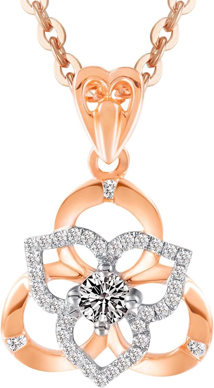 Epinki 18K Oro Mujeres Collar Flores Diamante Collar de Diamante Rosa Oro Longitud de Cadena 45CM