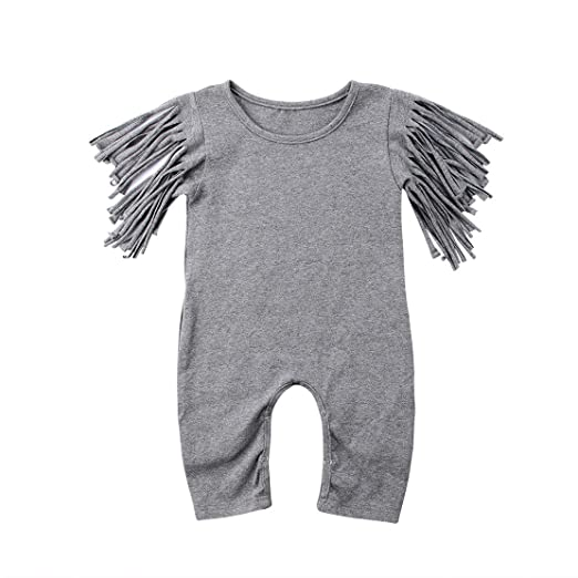 4d491fd27629 Newborn Girl Clothes Baby Girl Ruffles Romper Lace Sleeveless Outfit Grey  Bodysuit Clothes (Tassel Grey