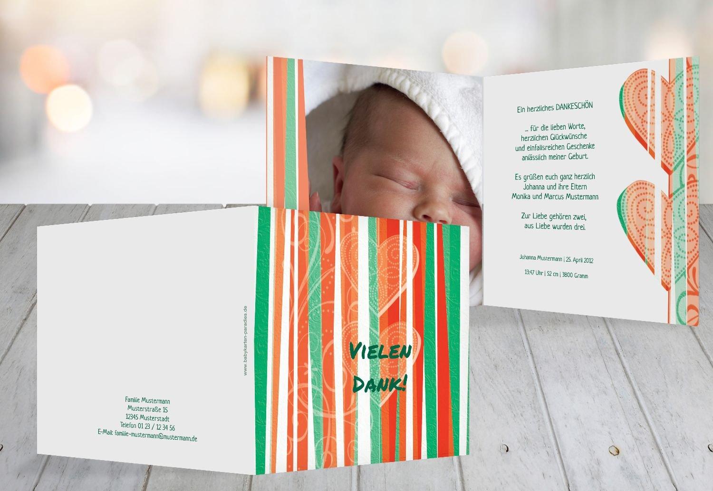 Kartenparadies Danksagung für Geburt Baby Dankeskarte hearts and stripes, hochwertige Danksagungskarte Baby inklusive Umschläge   100 Karten - (Format  145x145 mm) Farbe  Grasgruen B01N4TY4U6 | Günstige Bestellung  | Einfach zu spielen, freies