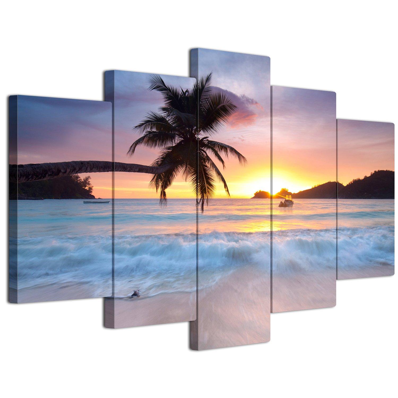 【リブラLibra】 5パネルセット アートパネル インテリアアート 海の景色 キャンバス絵画 (木枠付きの完成品) (L, LP1731) B075VKZG6M Large LP1731 LP1731 Large