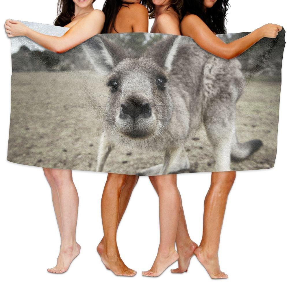 Animal Kangaroo Close-up Premium 100% Polyester Large Bath Towel, Pool And Bath Towel (80'' X 130'') Natural, Soft, Quick Drying