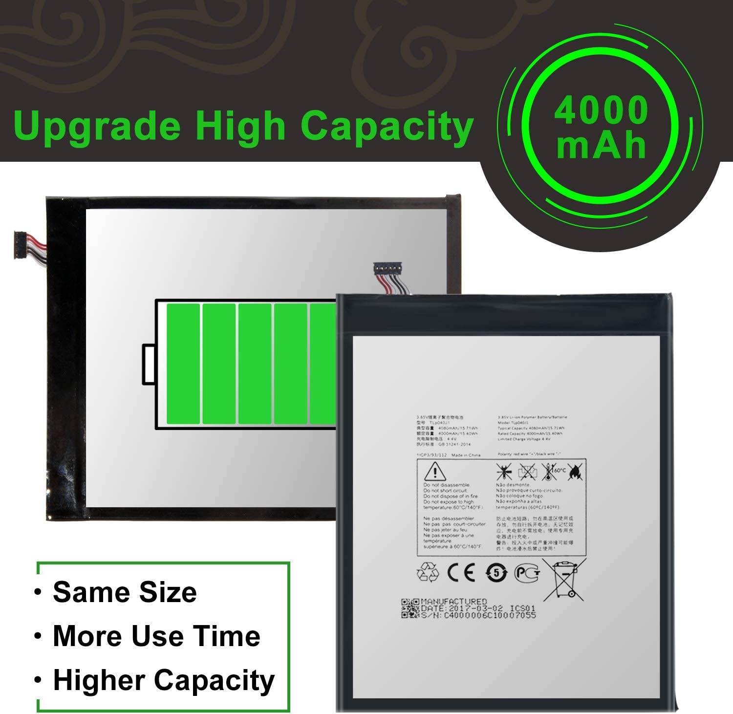 for Alcatel A30 Tablet 4G LTE 9024W 8.0,1T 10 8082 Tablet Replacement Battery,for TLp040J1//TLp040K7 Battery with Adhesive Tape Tool Repair Kit