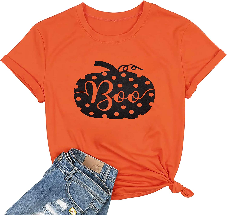 Happy Halloween Pumpkin Costume T Shirt Women Cute Graphic Short Sleeve Shirts Top Tee