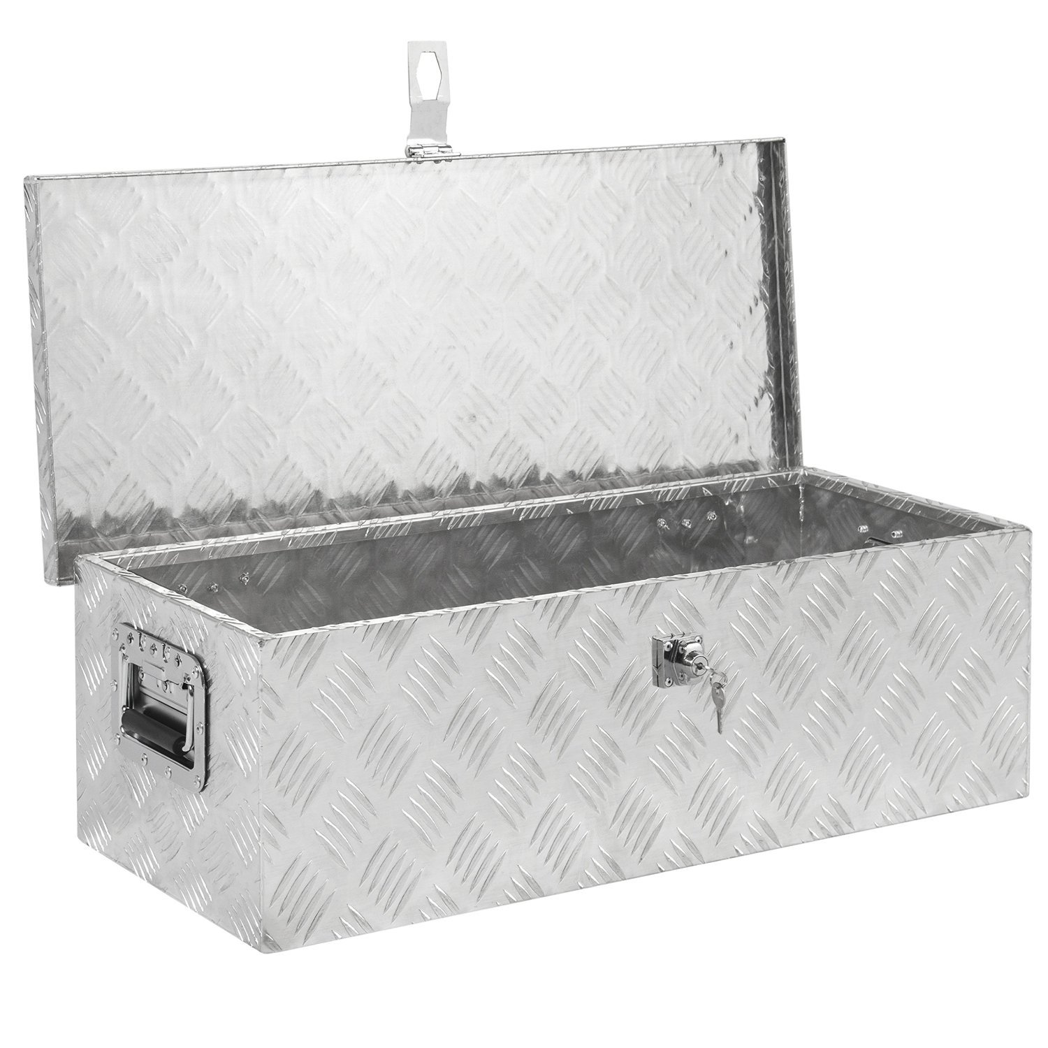 Million Parts 30'' Aluminum Camper Tool Box Tote Storage with Lock for Underbody Trailer Truck Pickup Bed ATV Storage