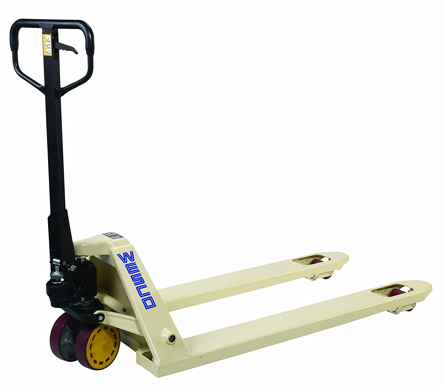 """Wesco 272657 CPI Series Pallet Truck with Handle, Polyurethane Wheels, 5500  lbs Load Capacity, 48-1/4"""" Height, 48"""" Length x 21"""" Width: Amazon.com: ..."""