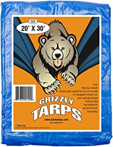 B-Air Grizzly Tarps - Large Multi-Purpose, Waterproof, Heavy Duty Poly Tarp Cover - 5 Mil Thick (Blue - 20 x 30 Feet)