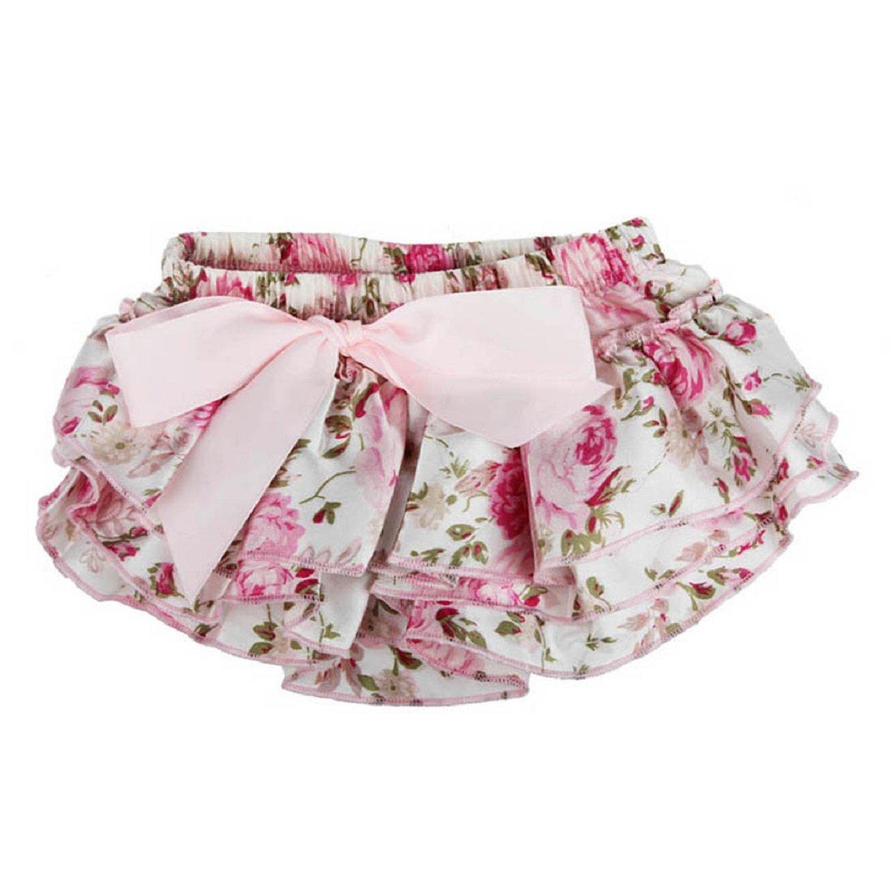 MALLOOM Baby Ruffle Bloomers Flower Shorts Newborn Tutu Ruffled Panties Diaper Covers Malloom 5436