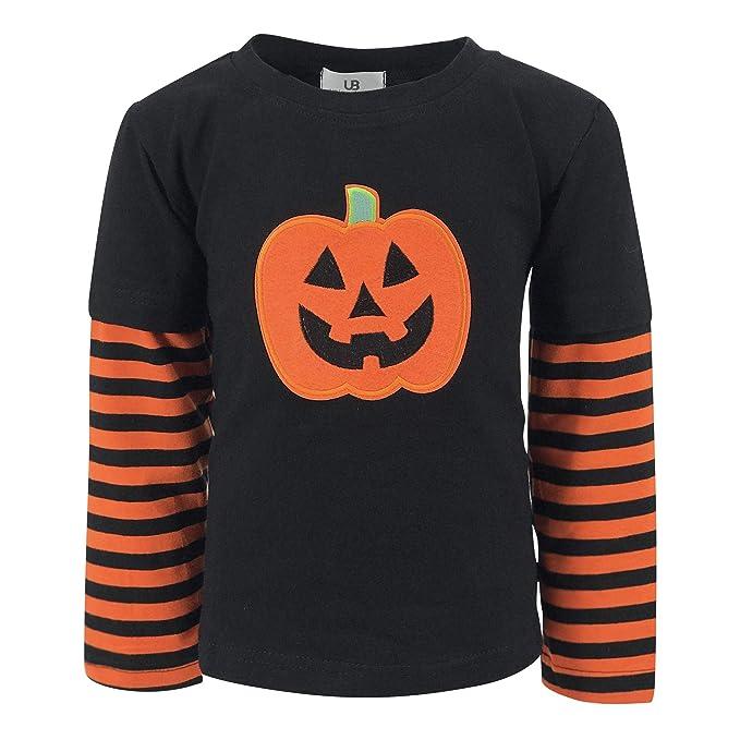 b5e7237b02a6 Amazon.com  Unique Baby Unisex Halloween Pumpkin Shirt  Clothing