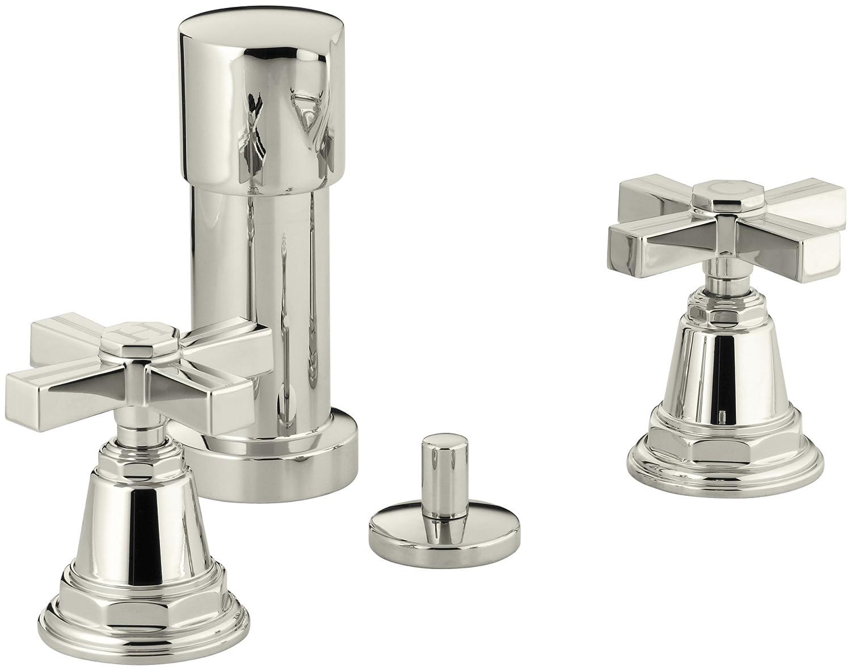 80%OFF Kohler K-13142-3B-SN Pinstripe Bidet Faucet with Cross Handles, Vibrant Polished Nickel