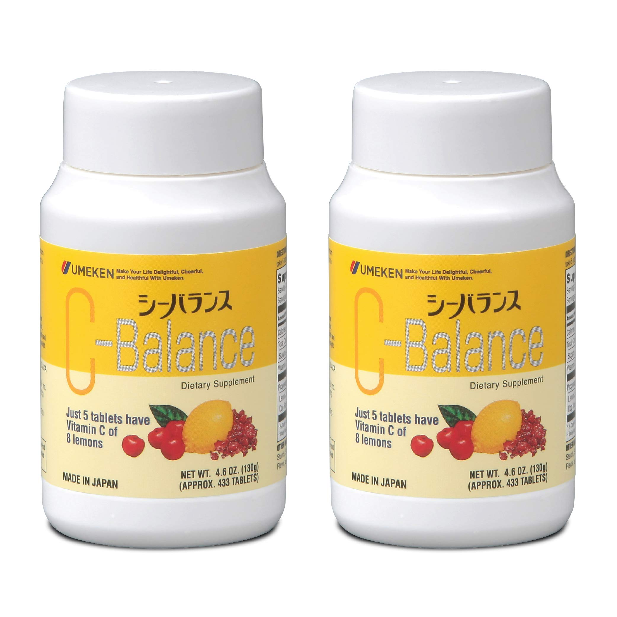 2X Umeken C-Balance (130g) - Highly Concentrated Vitamin C containing antioxidants, Citric Acid. Chewable, Great for Kids. Made in Japan. About a 2-3 Month Supply per Bottle. (Small Size)