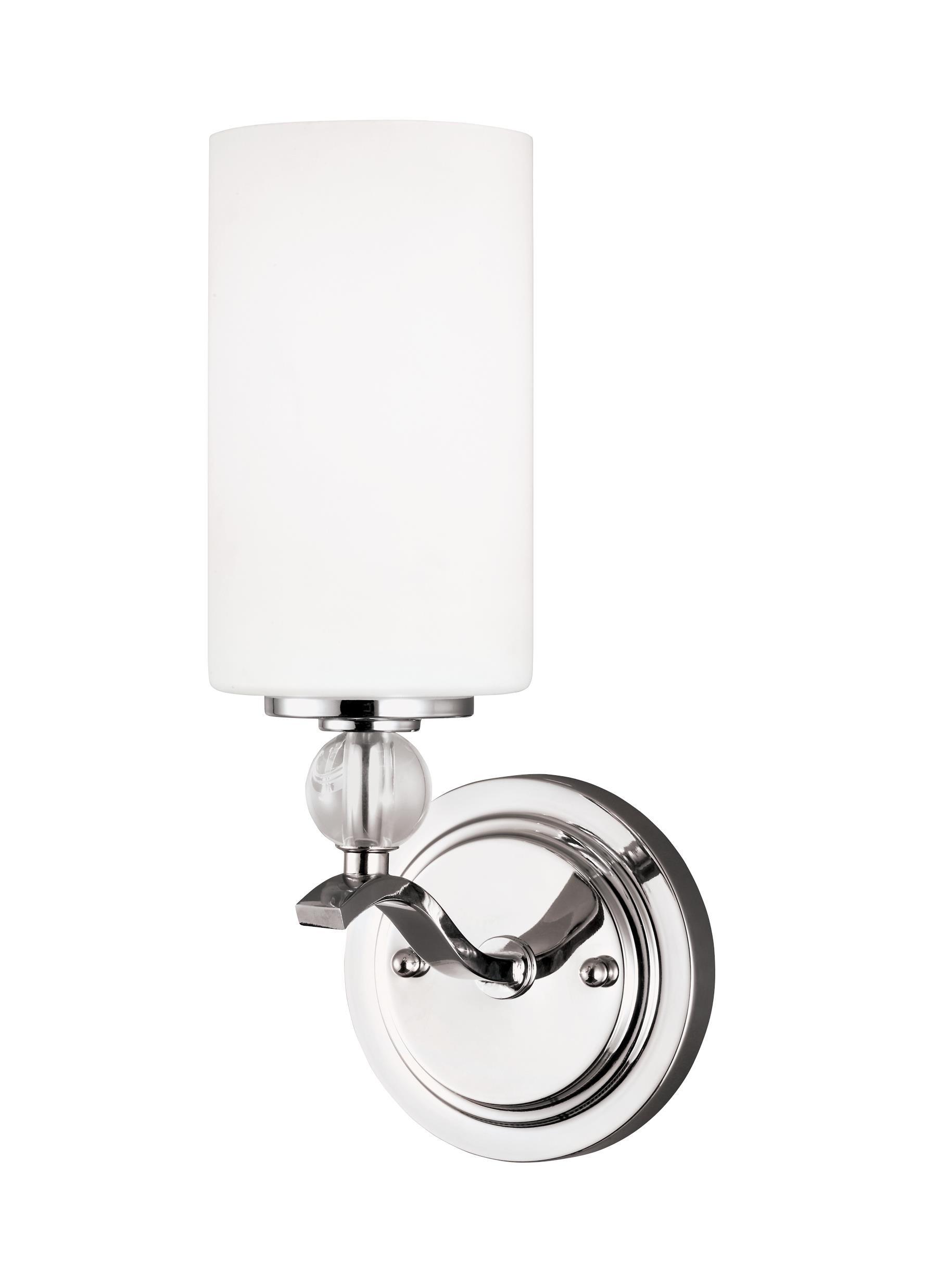 Sea Gull Lighting 4113401EN3-05 Englehorn One-Light Bath Or Wall Light Fixture with Glass Shade, Chrome Finish