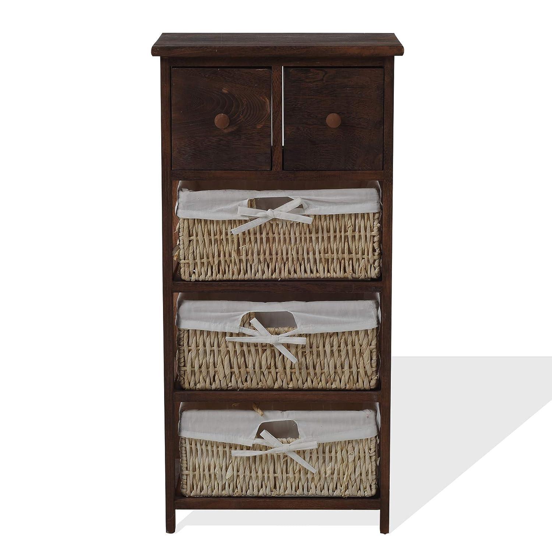 Rebecca Mobili Armario rústico, mueble baño con 2 cajones, 3 cestas, madera mimbre, marrón, estilo country, entrada baño- Medidas: 84,5 x 42 x 29 cm (...