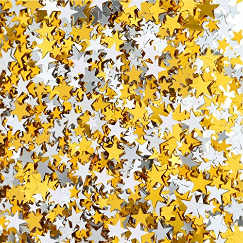 - 120 g Star Confetti Gold Silver Table Confetti Metallic Foil Stars for Party Wedding Festival Decorations, Assorted Size