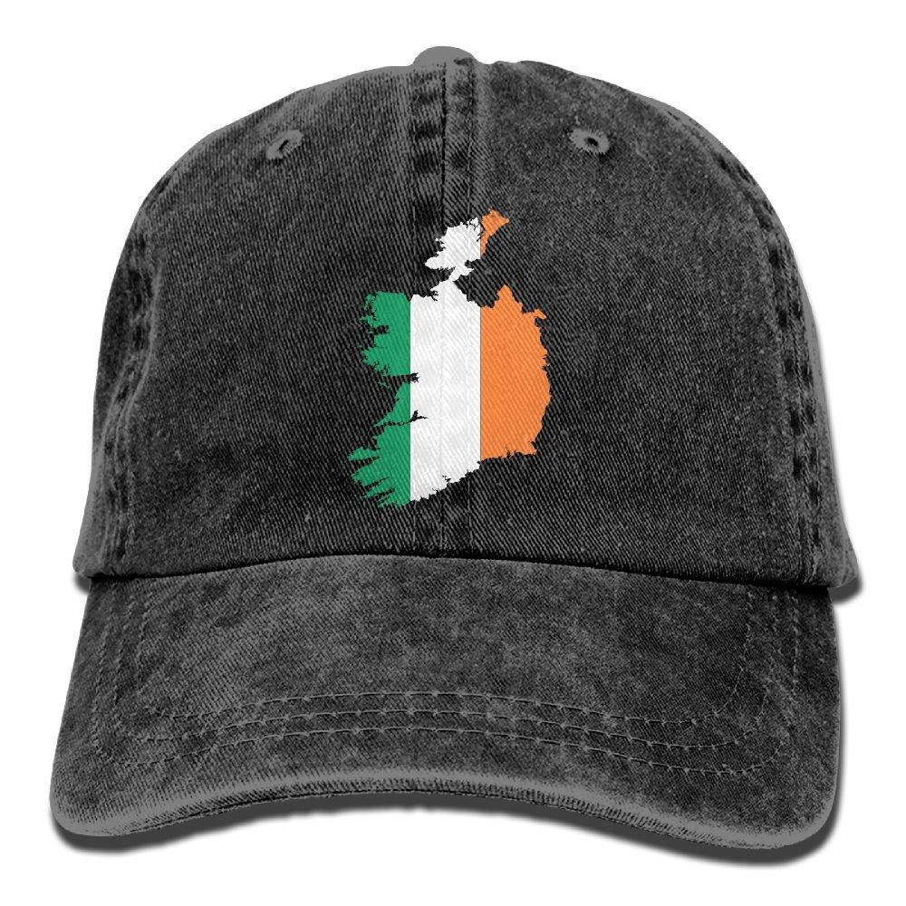 Irish Flag Of Ireland Trend Printing Cowboy Hat Fashion Baseball Cap For Men and Women Black