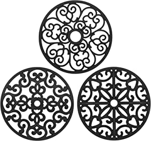 ChefBee 3PCS Silicone Trivet Mat - Hot Pot Holder Hot Pads for Pots & Dish, Non-Slip Heat Resistant Modern Kitchen Trivets, Hot Plates to Protect Table, Countertop - Flexible Trivet Mats Set(Black)