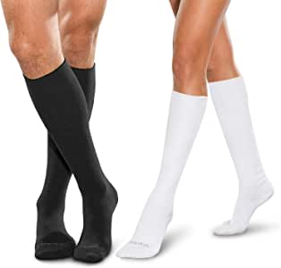 SmartKnit Seamless Diabetic Over-The-Calf Socks- 3 Pack - Small - Black White & White