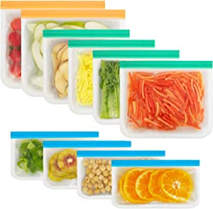 Korlon Reusable Silicone Storage Bags, 10 Pack Flat Freezer Bags(2 Reusable Gallon Bags + 4 Leak-proof Reusable Sandwich Bags + 4 Food Grade Snack Bags) Resealable Lunch Bag for Meat Fruit Veggies