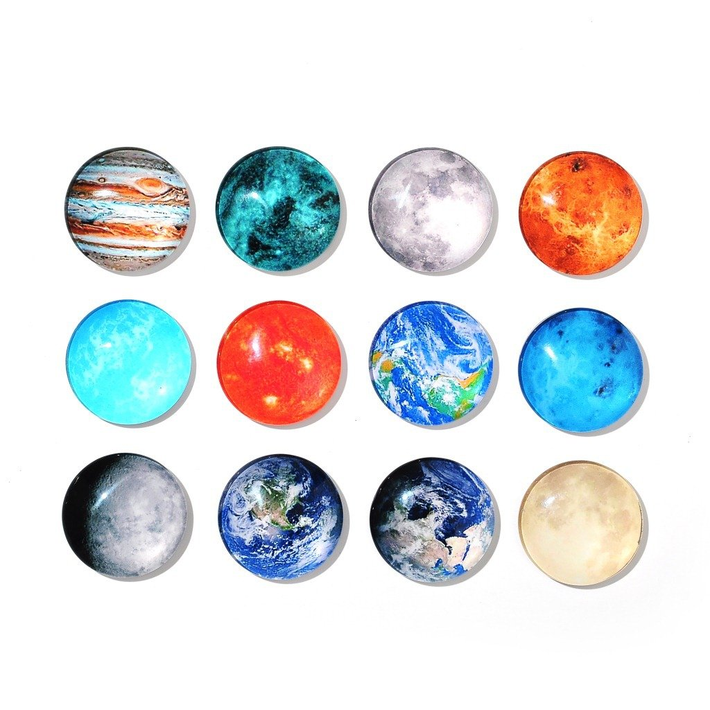 12 pcs Magnetic Fridge Magnete Pianeti Lune Fashion Dome Crystal Glass Magnetic nengxiong