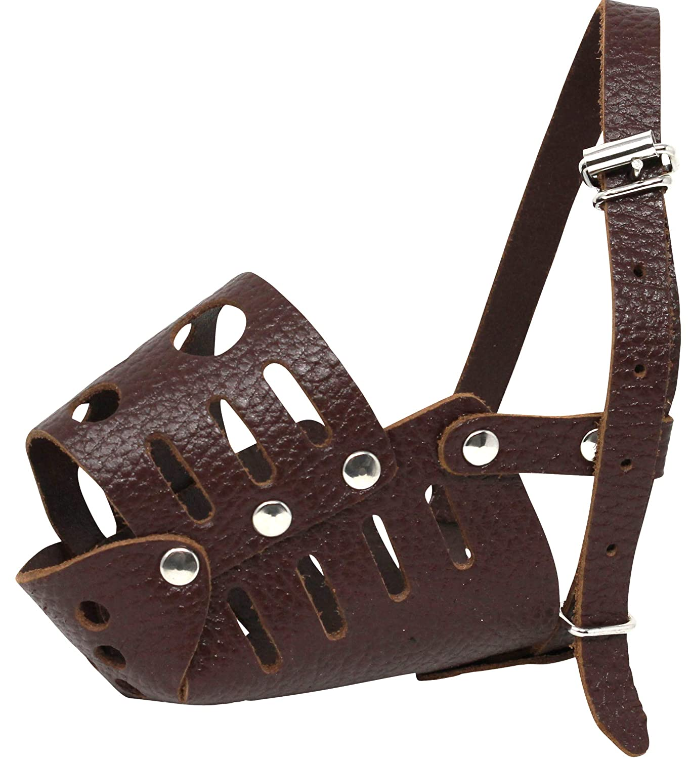Circumf. 6.75\ Real Leather Dog Cage Basket Muzzle Brown Small Breeds (Circumf. 6.75 ; Snout 2.5 )