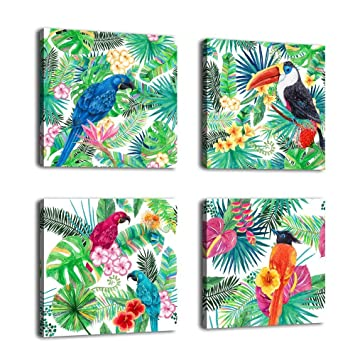 Amazon.com: Canvas Wall Art Birds Painting Parrot in Tropical Rain ...