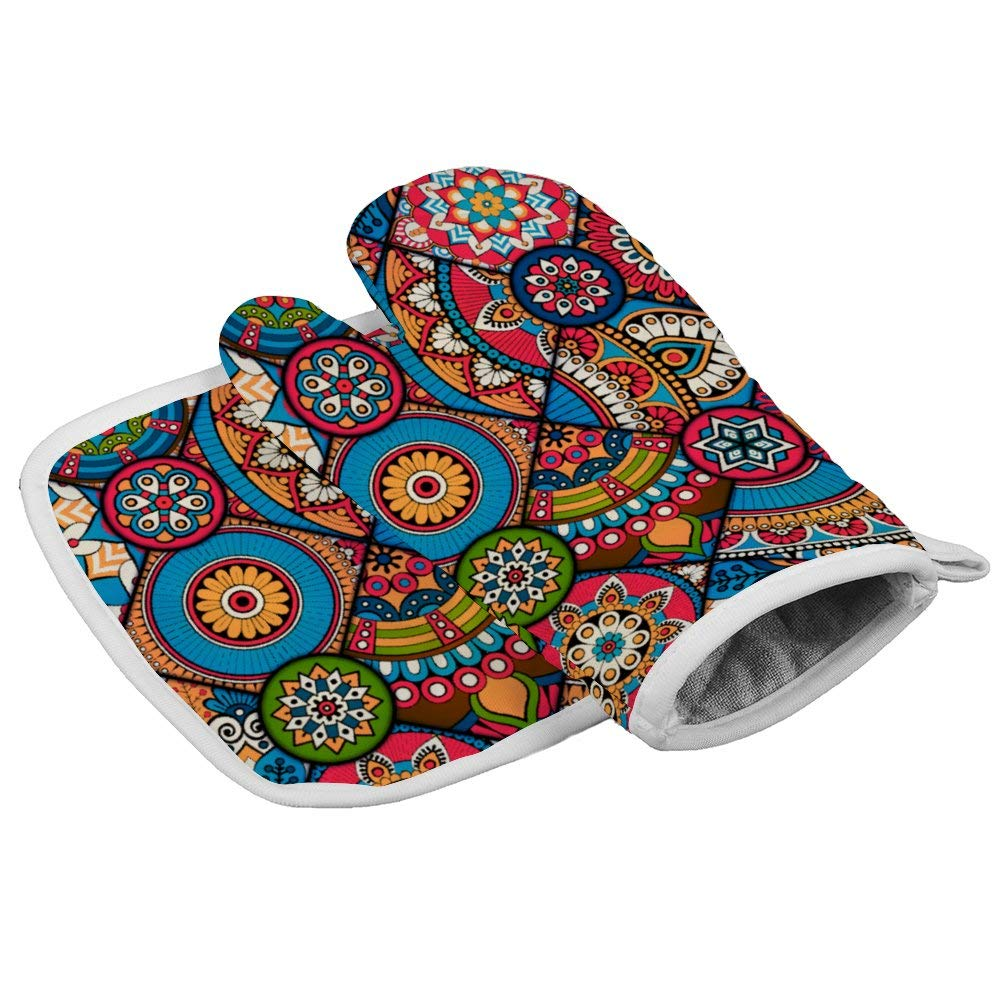Indian Colorful Pink Tribal Moroccan Bohemian Mandala Design Oven Mitts,Professional Heat Resistant Microwave BBQ Oven Insulation Thickening Cotton Gloves Baking Pot Mitts With Soft Inner Lining