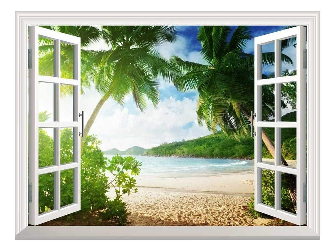 wall26 Removable Wall Sticker/Wall Mural - Sunset on The Tropical Beach with Palm Trees | Creative Window View Home Decor/Wall Decor - 36''x48''