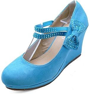 WOMENS BLUE HIGH-HEEL MARY JANE SECRETARY PLATFORM COURT SHOES SIZES 3-7