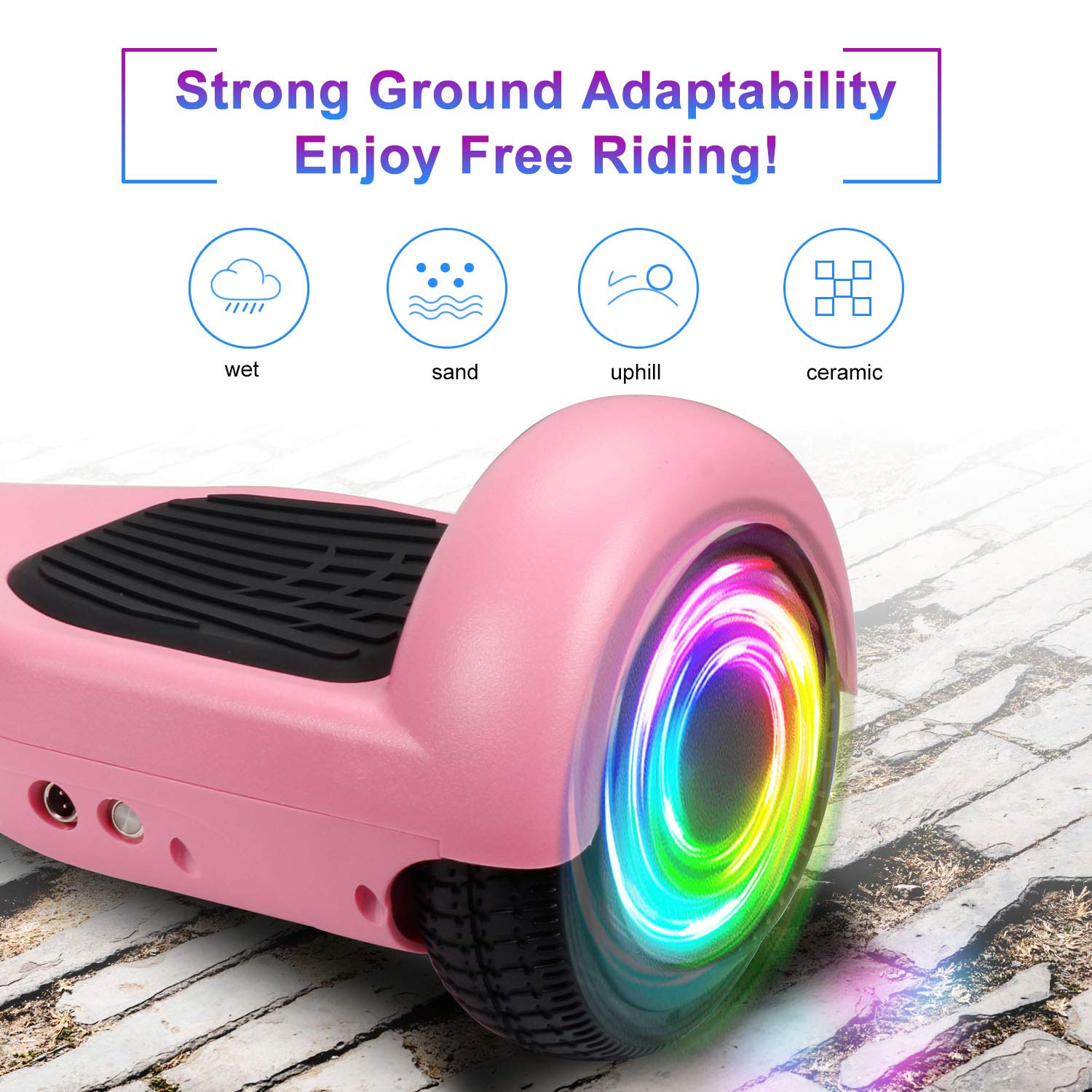 SISIGAD Hoverboard Self Balancing Scooter 6.5'' Two-Wheel Self Balancing Hoverboard with LED Lights Electric Scooter for Adult Kids Gift UL 2272 Certified - Pink by SISIGAD (Image #3)