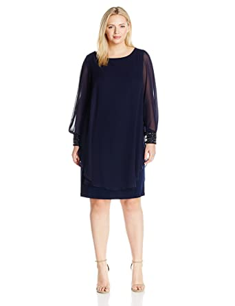 e8e6accc6a1 Xscape Women s Plus Size Short Ity with Chiffon Overlay and Bead Cuffs at Amazon  Women s Clothing store